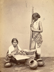 Women pounding and cleaning rice, Madras